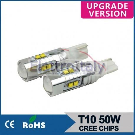Coppia Lampade LED W5W T10 Lenticolare