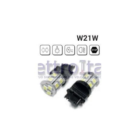 Coppia Lampade LED W21W/5W T20 1 FILAMENTO CON 18 LED 6000K