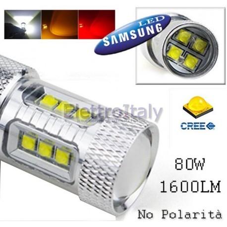 Lampada LED canbus Bianco T20/5W con lenticolare 80W Doppio filamento