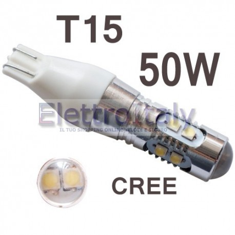 Lampada LED canbus Bianco T15 con lenticolare