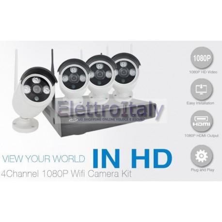 Kit videosorveglianza Wifi 4 cam 1080p con NVR remoto
