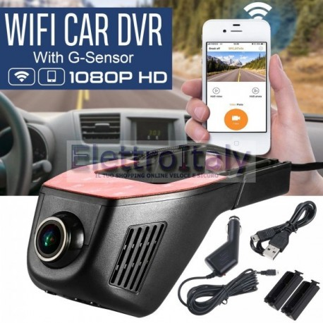 TELECAMERA PER AUTO WIFI DASH CAM CAR 1080P FULL HD DVR REGISTRATORE VIDEO G SENSOR VIDEOCAMERA
