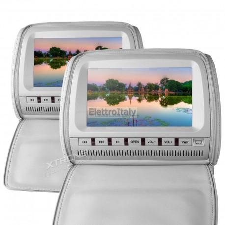 Coppia Monitor 9 pollici DVD poggiatesta Grigio