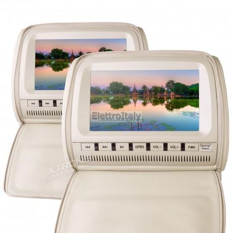 Coppia Monitor 9 pollici DVD poggiatesta Crema
