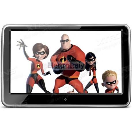 Monitor 10 pollici touschreen HD da poggiatesta con DVD HDMI e rimuovibile Xtrons