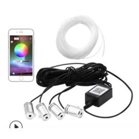 Kit Illuminazione Ambient interno 4 led RGB in Fibra ottica con APP