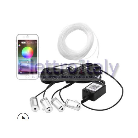 Kit Illuminazione Ambient interno led RGB in Fibra ottica con APP
