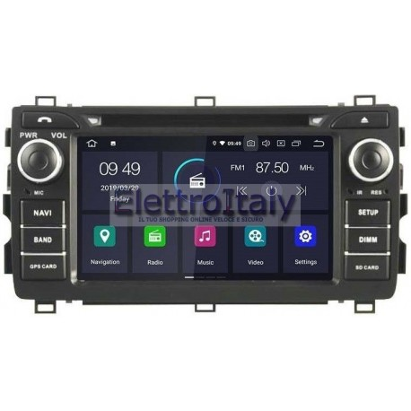 Cartablet Navigatore Toyota Auris 2013 Android Multimediale