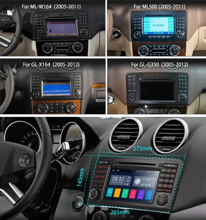 autoradio navigatore mercedes classe ml w164 android 7 1. Black Bedroom Furniture Sets. Home Design Ideas